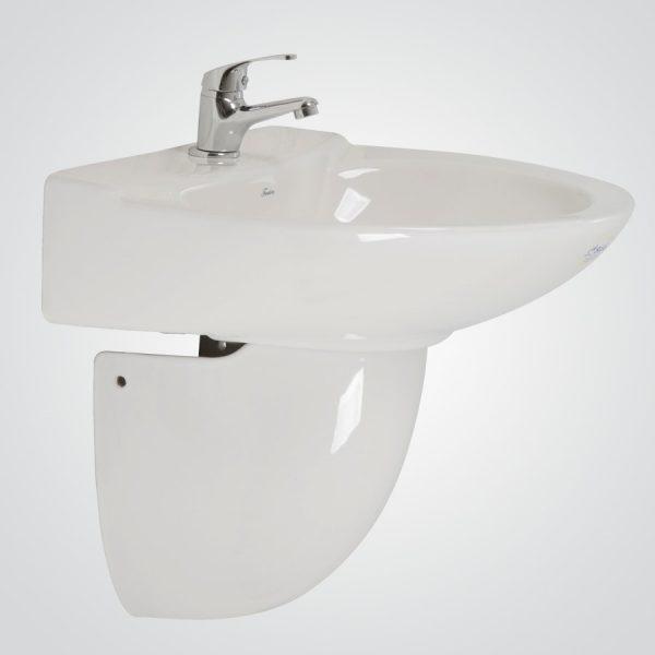 Lavamanos Valencia Premium con pedestal al muro